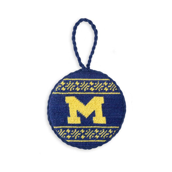 University of Michigan Fairisle Needlepoint Ornament by Smathers & Branson