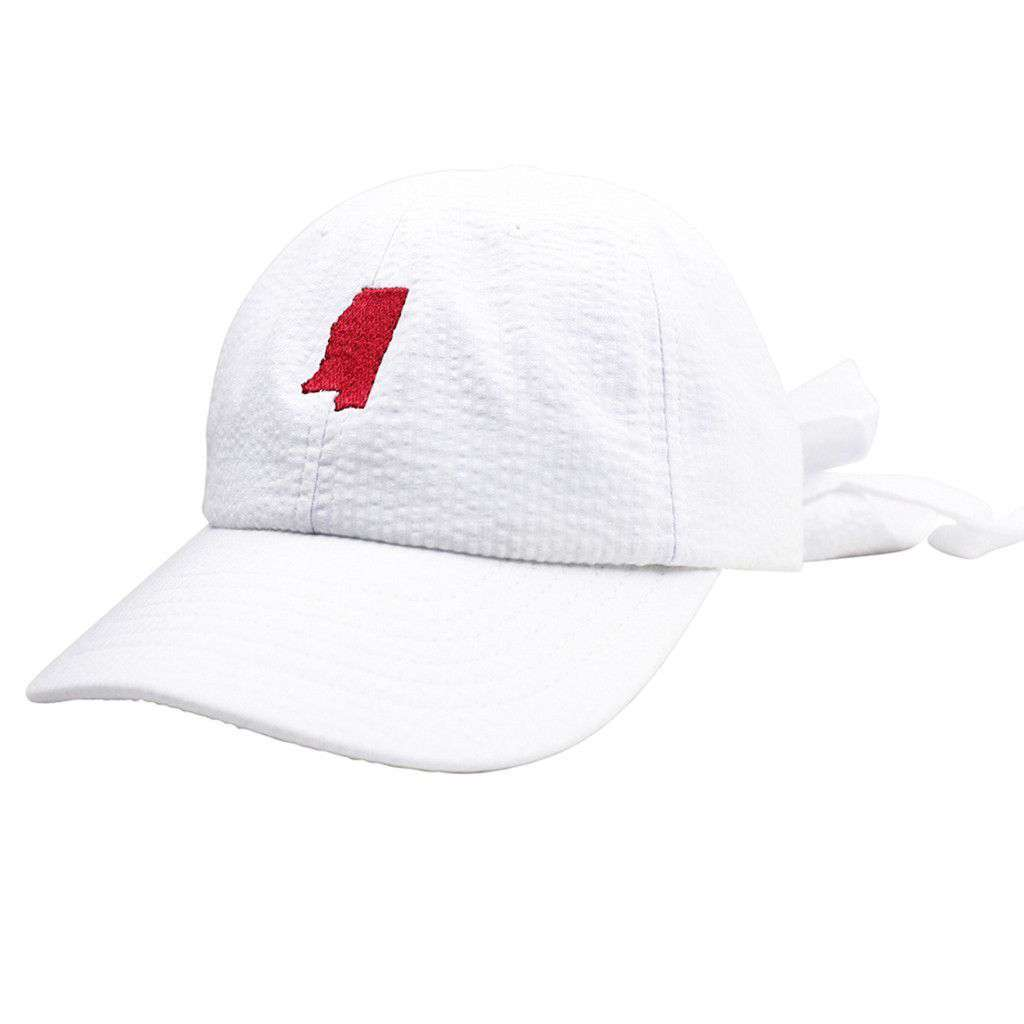Mississippi Seersucker Bow Hat in White with Crimson by Lauren James  - 1