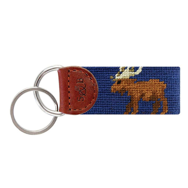 Moose Needlepoint Key Fob in Classic Navy by Smathers & Branson