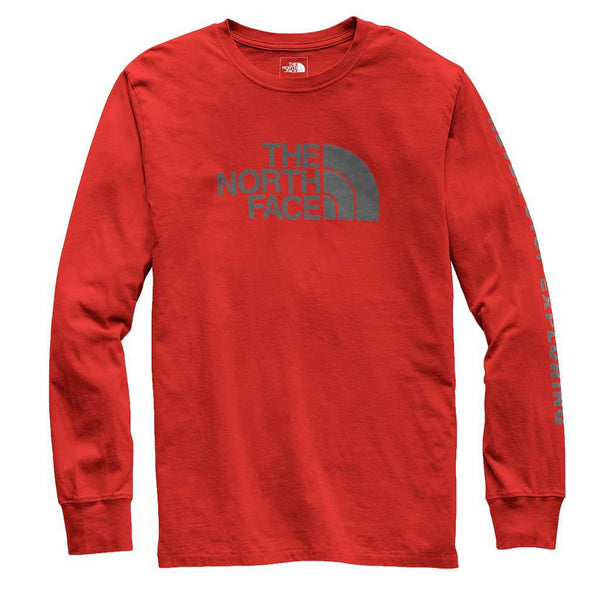 Men's Long Sleeve Well-Loved Half Dome Tee in Caldera Red by The North Face