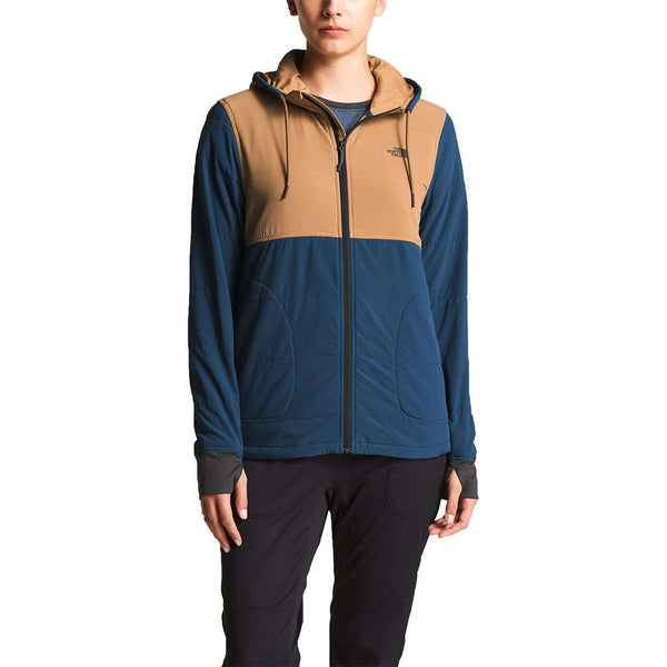 Women's Full Zip Mountain Sweatshirt in Blue Wing Teal & Cargo Khaki by The North Face - FINAL SALE
