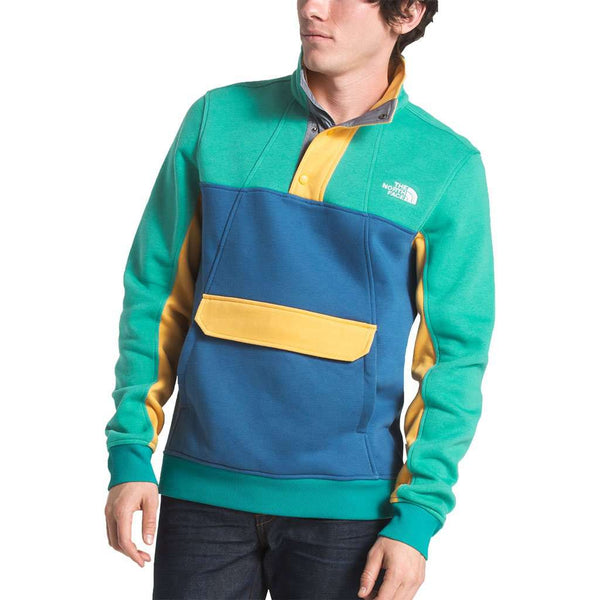 Men's Alphabet City Fleece Pullover in Porcelain Green, Dish Blue & Amber by The North Face - FINAL SALE