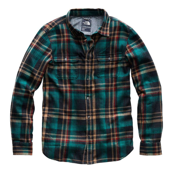 The North Face Men's Long Sleeve Arroyo Flannel in Urban Navy Barrows Plaid