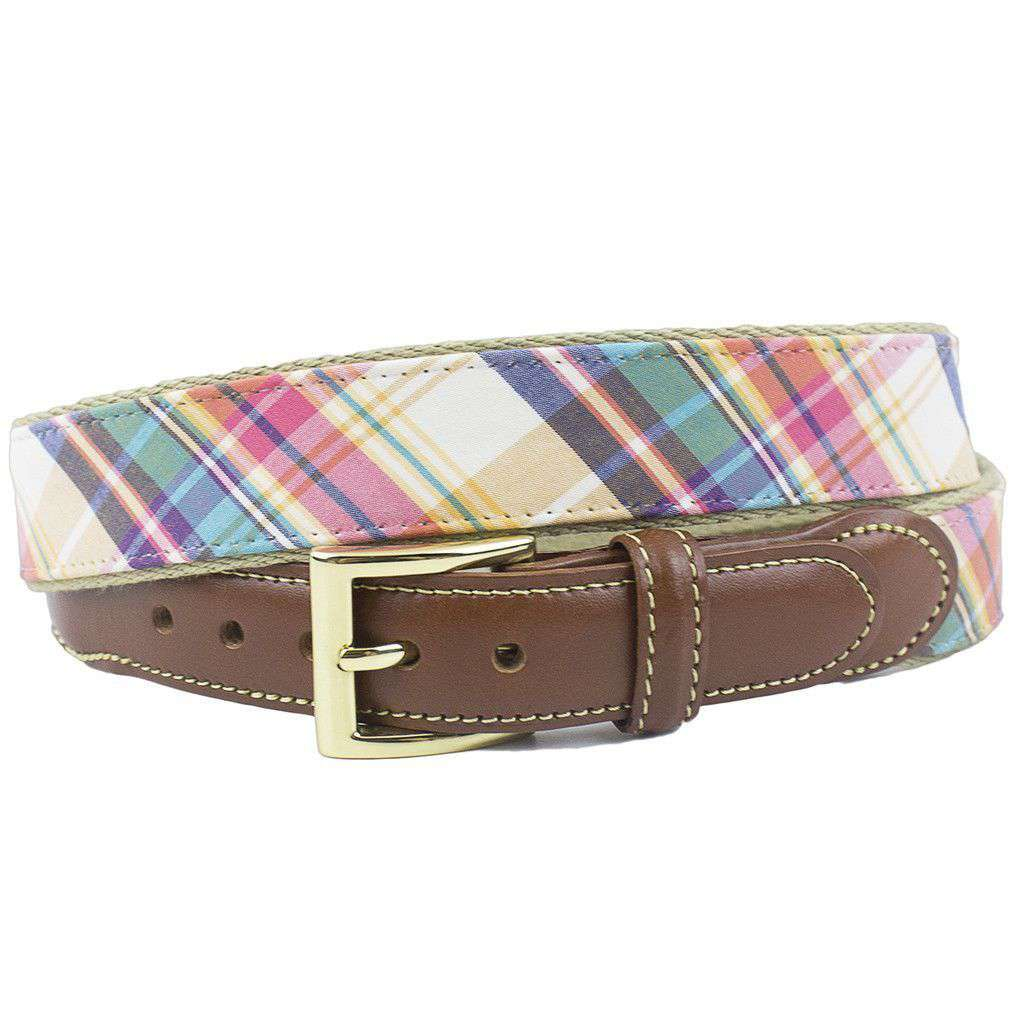 Nantucket Madras Leather Tab Belt on Natural Tan Canvas by Country Club Prep