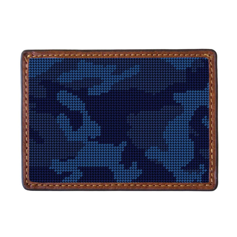 Navy Camo Needlepoint Credit Card Wallet by Smathers & Branson