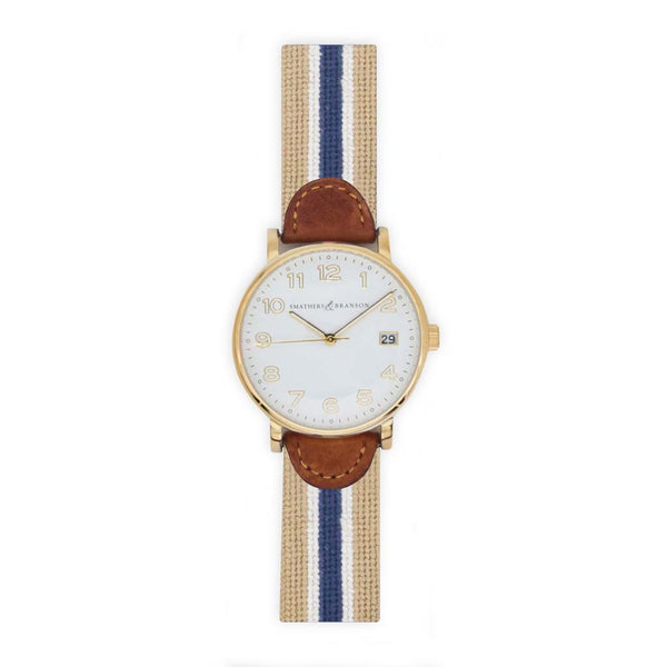 Navy Multi Stripe Needlepoint Watch by Smathers & Branson