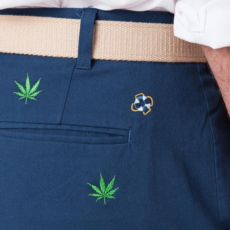Stretch Twill Harbor Pant in Nantucket Navy with Embroidered Pot Leaf by Castaway Clothing