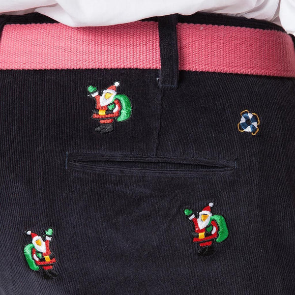 Beachcomber Corduroy Pants in Nantucket Navy with Embroidered Santa by Castaway Clothing