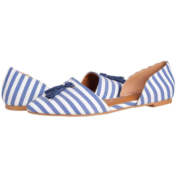 Caroline Flat in Navy Stripe by Southern Proper - FINAL SALE