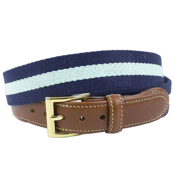 Navy Surcingle Leather Tab Belt with Mint Stripe by Country Club Prep