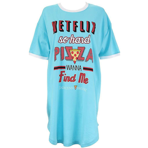 Netflix So Hard Pizza Wanna Find Me Sleep Shirt in Poolside Blue by Jadelynn Brooke  - 2