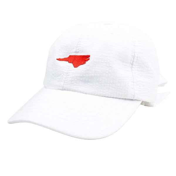 North Carolina Seersucker Bow Hat in White with Red by Lauren James  - 1