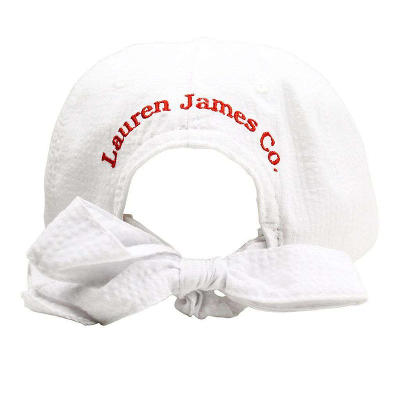 North Carolina Seersucker Bow Hat in White with Red by Lauren James - FINAL SALE