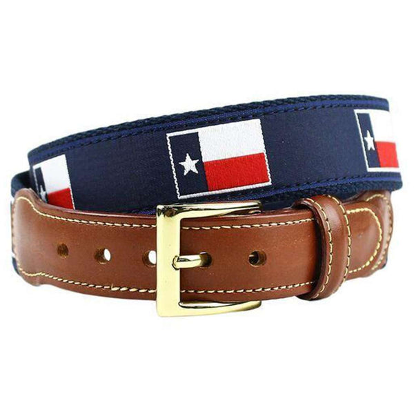 Texas Flag Leather Tab Belt in Navy on Navy Canvas by Country Club Prep