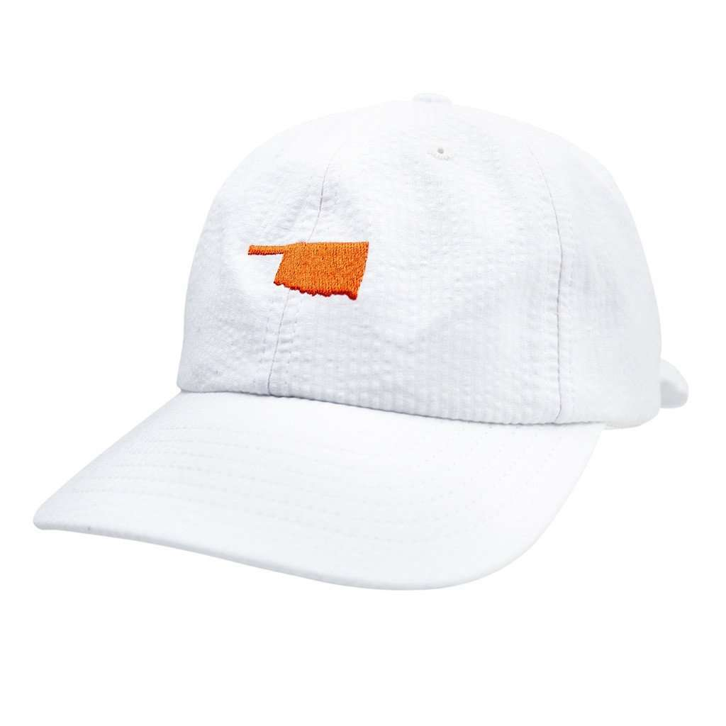 Oklahoma Seersucker Bow Hat in White with Orange by Lauren James  - 1
