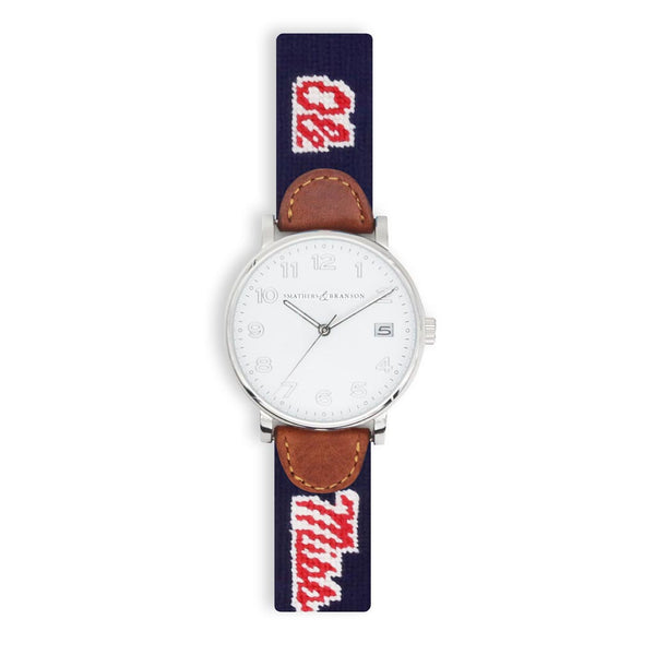 Ole Miss Needlepoint Watch by Smathers & Branson
