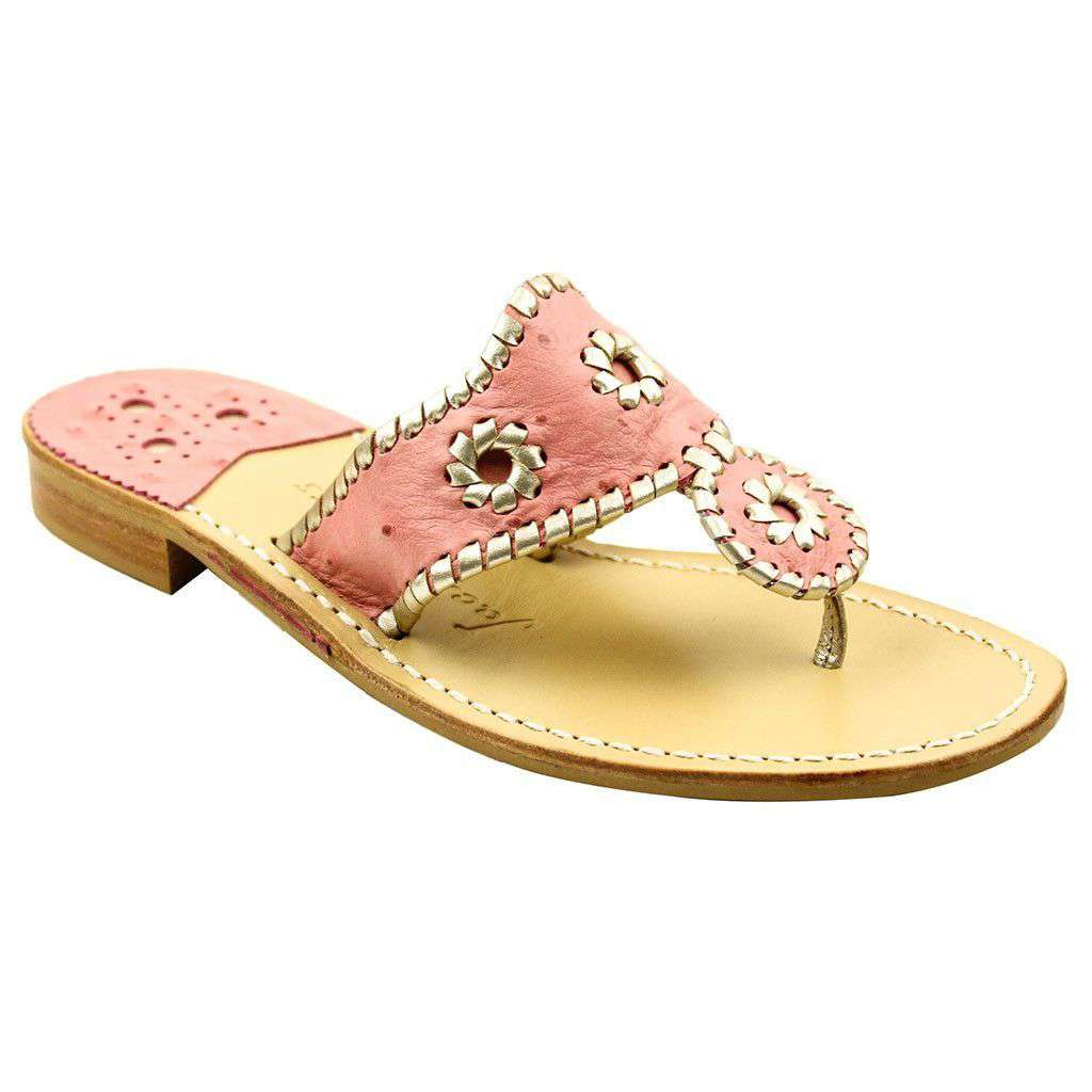 Exclusive Ostrich in Pink and Platinum Navajo Sandals by Jack Rogers  - 1