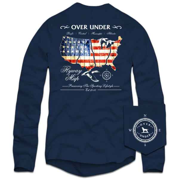 Over Under Clothing Long Sleeve Flyway Map T-Shirt in Navy