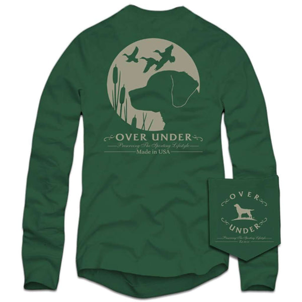 Over Under Clothing Long Sleeve Retriever's Moon T-Shirt in Green