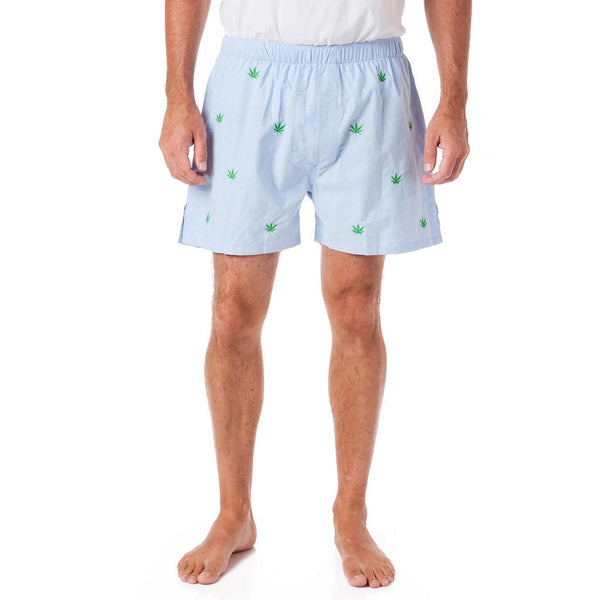 Barefoot Boxer with Embroidered Pot Leaf in Blue Oxford by Castaway Clothing