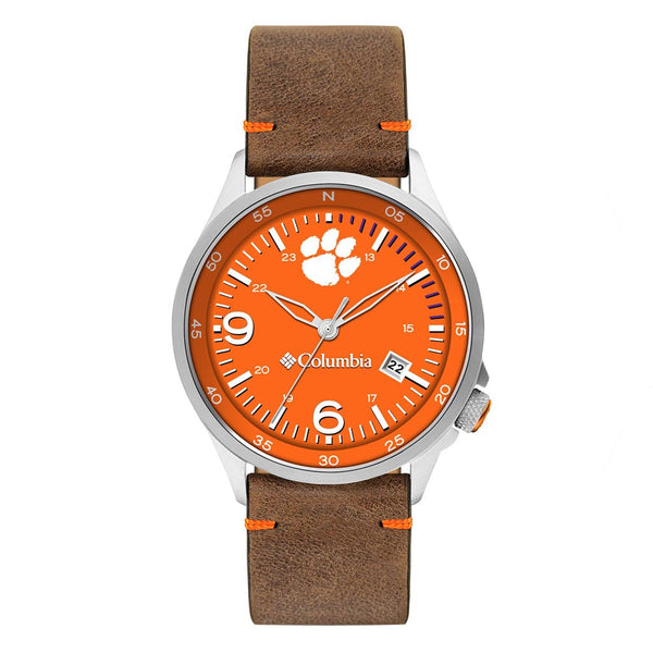Clemson Canyon Ridge 3-Hand Date Saddle Leather Watch by Columbia Sportswear