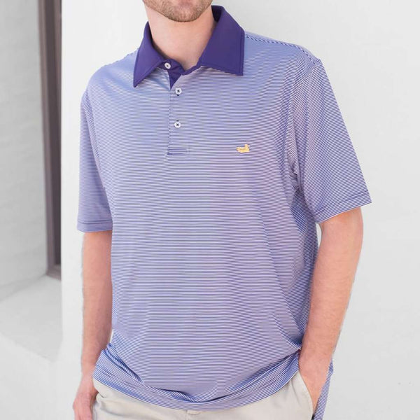 Hawthorne Performance Polo in Purple & White by Southern Marsh
