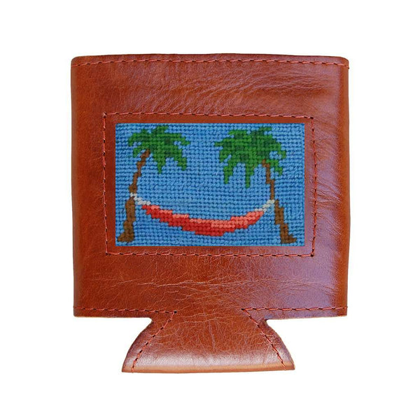 Smathers & Branson Palm Tree Hammock Needlepoint Can Cooler in Cornflower
