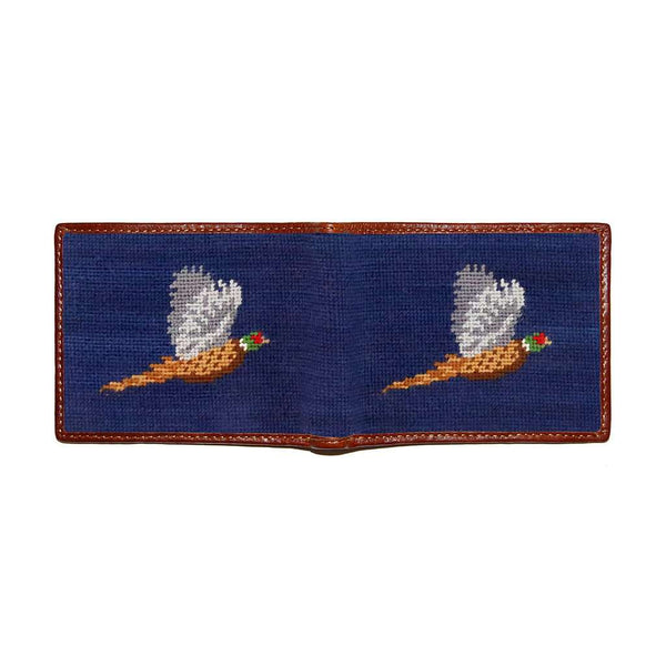Smathers & Branson Pheasant Needlepoint Wallet in Classic Navy