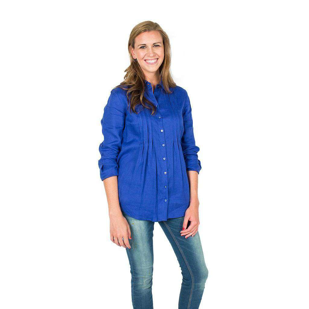 Pin Tuck Linen Shirt in Cobalt by Tyler Boe
