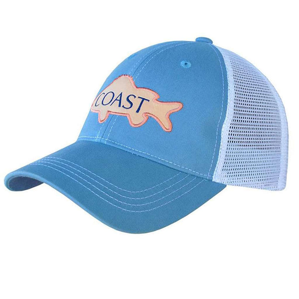 Trucker Hat in Pink Fish by Coast
