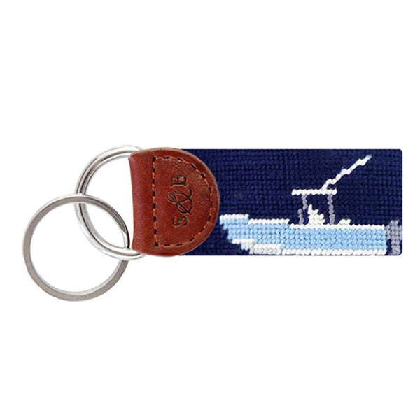Power Boat Needlepoint Key Fob in Dark Navy by Smathers & Branson