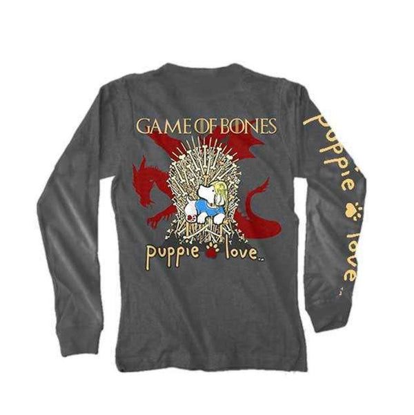 Puppie Love Game of Bones Long Sleeve Tee in Charcoal
