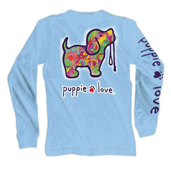 Puppie Love Long Sleeve Abstract Pup Tee in Carolina Blue