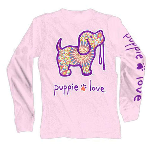 Puppie Love Long Sleeve Boho Pup Tee in Light Pink