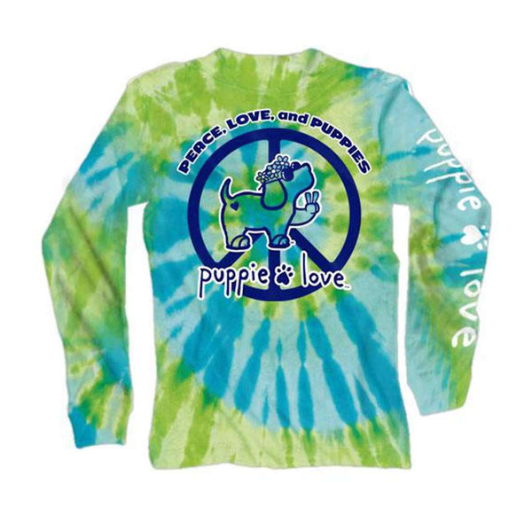 Puppie Love Long Sleeve Peace Pup Tie Dye Tee