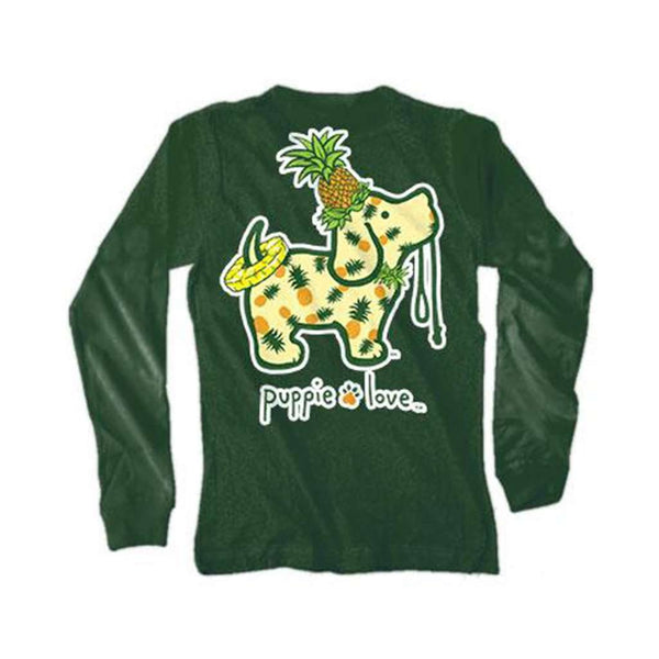 Puppie Love Long Sleeve Pineapple Pup Tee in Forest Green