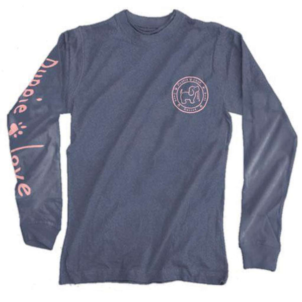 Puppie Love Long Sleeve Pink Logo Pup Tee in Indigo