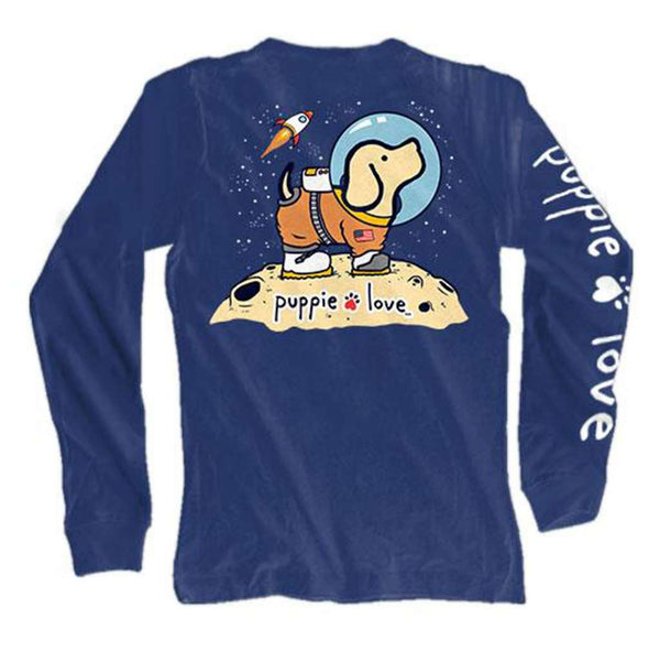 Puppie Love Long Sleeve Space Pup Tee in Navy