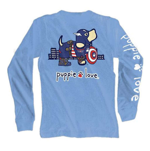 Puppie Love Long Sleeve Superhero Pup Tee in Carolina Blue