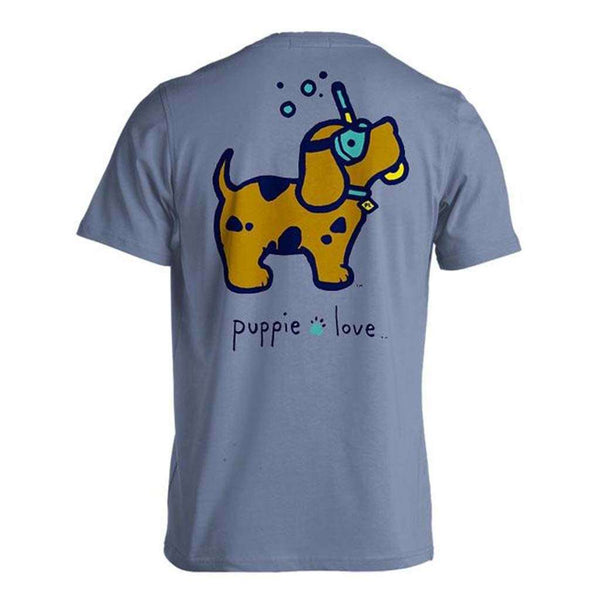 Puppie Love Scuba Doo Pup Tee in Stone Blue