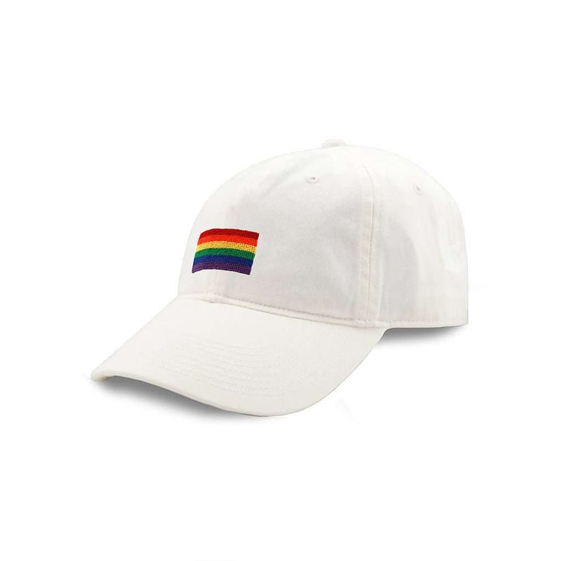 Rainbow Needlepoint Hat in White by Smathers & Branson