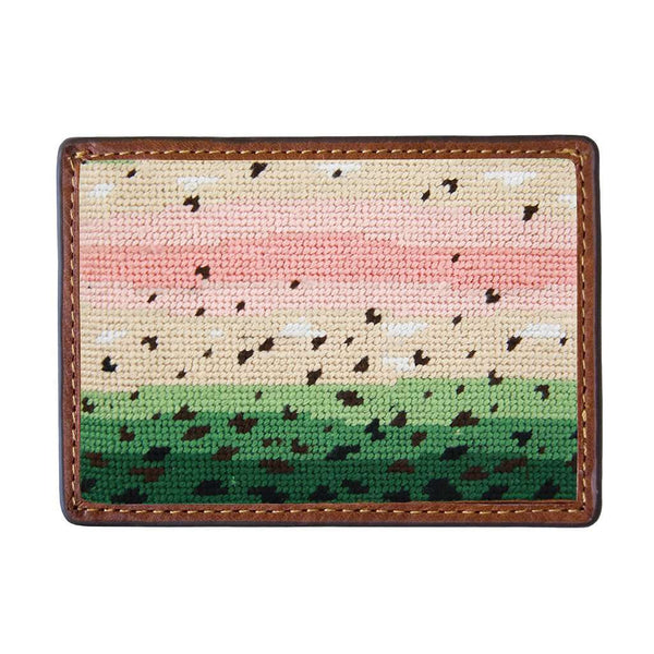 Rainbow Trout Skin Needlepoint Credit Card Wallet by Smathers & Branson
