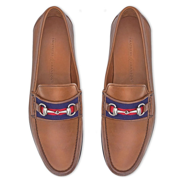 Navy & Red Surcingle Downing Bit Loafer by Smathers & Branson