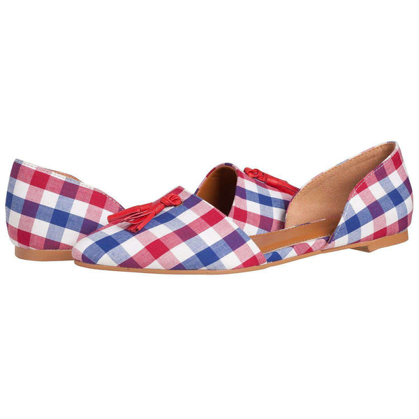 Caroline Flat in Red/Navy Gingham by Southern Proper - FINAL SALE