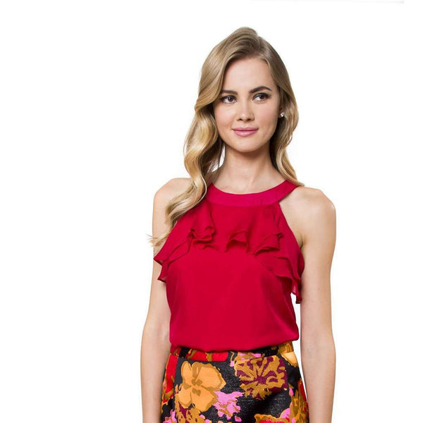 Rina Blouse in Cardinal Red by Julie Brown