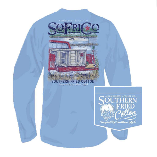 Southern Fried Cotton Out for the Hunt Long Sleeve Tee in Faded Jeans