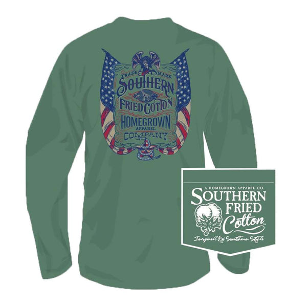 Southern Fried Cotton Live Free Long Sleeve Tee in Sea Grass