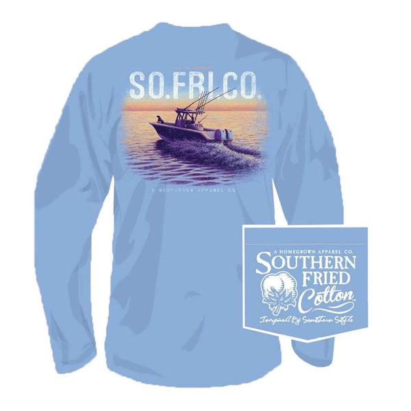Southern Fried Cotton Open Seas Long Sleeve Tee in Faded Jeans