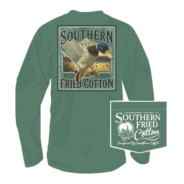 Southern Fried Cotton Landing Zone Long Sleeve Tee in Sea Grass