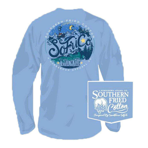 Southern Fried Cotton Adventure Awaits Long Sleeve Tee in Faded Jeans